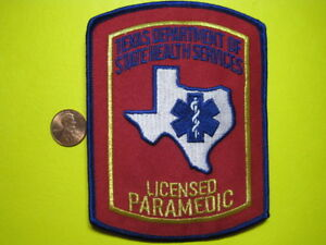 Texas Licensed Paramedic Patch Shoulder Size New Look! *