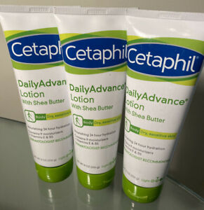 3 Cetaphil Daily Advance Ultra Hydrating Lotion W/shea Butter For Dry 8oz