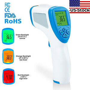 *usa Stock* Digital Infrared Thermometer Gun Led Forehead No-touch Adult Babies