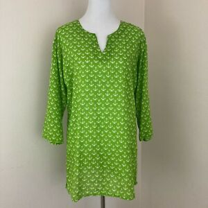 Kikisol Tunic Top Blouse Beach Swim Cover Up Size Xl Green With White Anchors