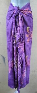 Bali Sarong Batik Fringed Lavender Turtles Pareo Dress Beach Cover Up Wrap