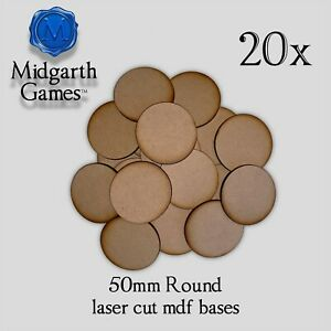 20x 50mm Round Mdf Bases Miniature Warhammer Aos 40k Free Shipping Us Seller
