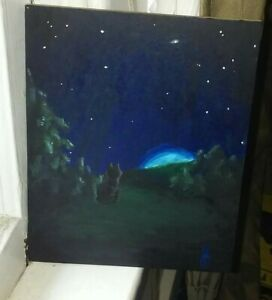 Original Painting Acrylic On Mdf Board - Sky Lights By Crystal Kitsune - Signed