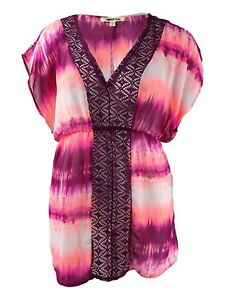 Miken 140777 Womens Juniors Purple Tie-dyed Cover-up Dress Size X-small