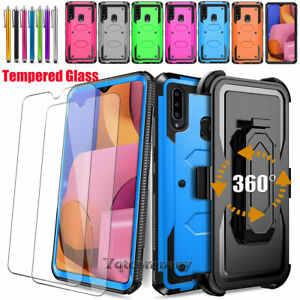 For Samsung Galaxy A20 A20s Case Hybrid Cover Belt Clip Holster+screen Protector