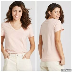 Relaxed Fit Short Sleeve V-neck Cotton T-shirt Universal Thread Pink Large New