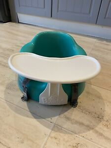 Green Bumbo Seat With White Tray And Straps - Excellent Condition