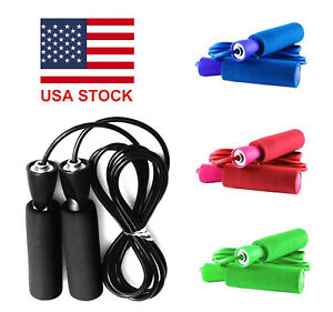 Black Gym Aerobic Exercise Skipping Jump Rope Fitness Adjustable Bearing Speed