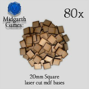 80x Square 20mm Mdf Bases Miniature Warhammer Laser Cut 40k Free Shipping