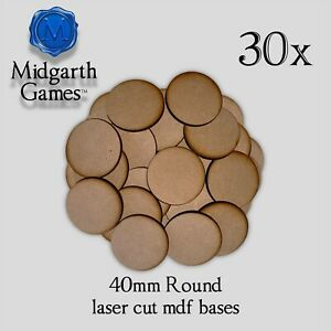 30x Round 40mm Mdf Bases Miniature Warhammer Aos 40k Free Shipping Us Seller