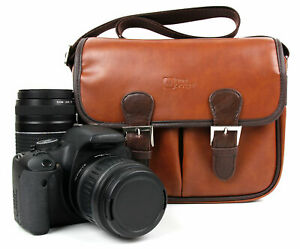 Duragadget Brown Pu Leather Bag - Suitable For Canon Eos Rebel T6i