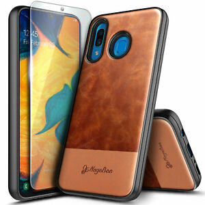 For Samsung Galaxy A10e A20 A30s A50 Case Leather Phone Cover + Tempered Glass