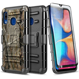 For Samsung Galaxy A20  / A30 Case Armor Belt Clip Phone Cover + Tempered Glass