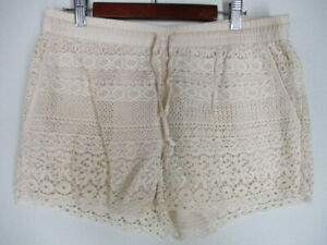 New Solitaire Swim Beige Crochet Drawstring Lined Swim Shorts Cover Up  L