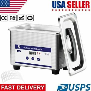 Digital Ultrasonic Cleaner Timer Stainless Jewelry Glasses Denture Clean Tank Us