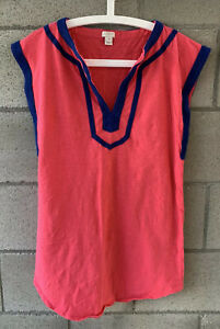J Crew Beach Cover Up Coverup Size Xsmall Xs Coral Blue V-neck