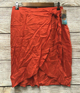 Beaches & Boho Cover-up Skirt Womens Size Small Orange Rayon Swim Cover Wrap New