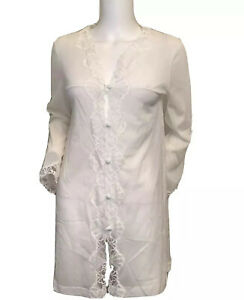 Emilio Pucci Size Small Formfit Rogers Ivory Nightgown Button Front Vintage