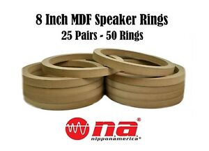 8 Inch Mdf Speaker Rings 50 Pcs-25 Pairs Mounting Spacer For Fiberglass Install