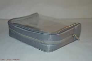 Md Formulations Gray & Clear Makeup Bag Case Pvc Polyester New 6.5