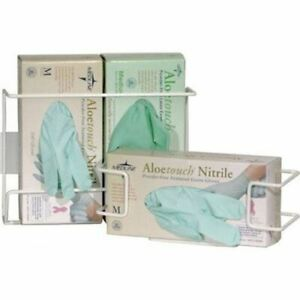 Disposable Glove Wire Rack, Wall Mounted Universal Box Holder White, Horizontal