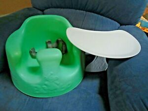 Bumbo Baby Floor Seat Chair With Safety Belts Straps Mint Green With Tray