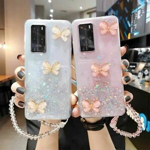 Case For Samsung Galaxy A50 A40 A20e A70 A51 S20+ Bling Butterfly Strap Cover