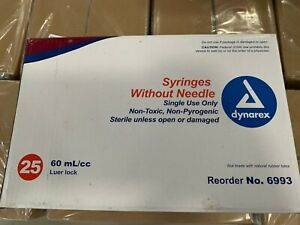 Dynarex 6993 Syringes Without Needles 60 Ml/cc Luer Lock (bx/25) Single Use Only