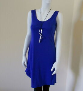 Blue Cotton Dress Tunic Asymmetrical  Pool Cover-up Size Med/ Large Nwt $225.
