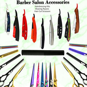 All In 1 Barber Shop Hair Cut Scissors Shear Hairdressing Comb Shaving Razor Kit
