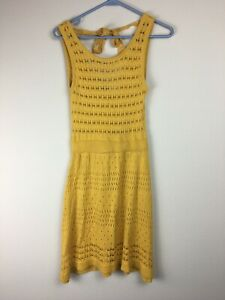 Flying Tomato Mustard Yellow Crochet Swim Cover-up Size Small Knit
