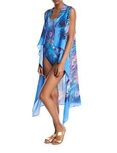 Nwt Gottex Dream Catcher Silk Cover Up Pareo Peacock Print One Size