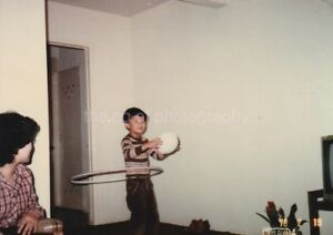 Found Photo 70s Hula Hoop Boy Color Free Shipping Original Snapshot Vintage 85 1