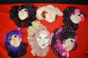 Masquerade Mask Assortment Lot Collection Of 6 Rare Belladonna Ceramic Fancy Old