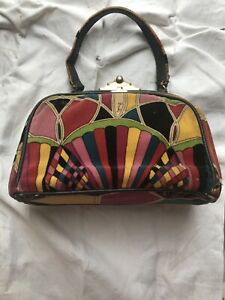 Emilio Pucci Vintage Multi-color Art Deco Velvet Pocketbook Purse Handbag Bag