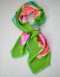 New Authentic Emilio Pucci Abstract Print 100% Silk Oversized Square Scarf Shawl