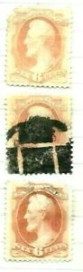 19th Century Us Used Stamps  Lot # A - 51 Faults Fancy Cancel