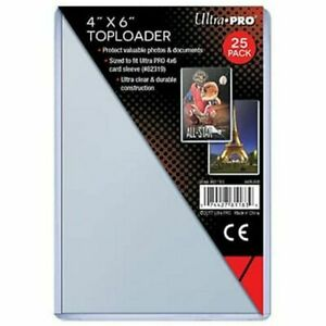 25 Ultra Pro 4x6 Toploaders Clear Rigid 4 X 6 Top Loader New Free Ship!!