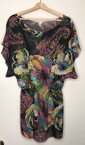 Xhilaration Sheer Floral Tunic Swim Cover Up Black Multicolor Size Medium