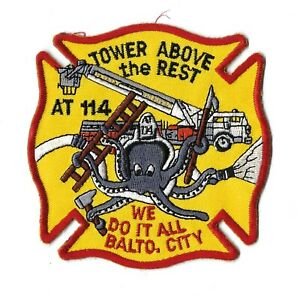 Baltimore City Md Maryland Fire Dept. Aerial Tower At 114 Patch - New! Clothback