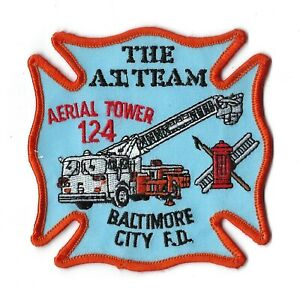Baltimore City Md Maryland Fire Dept. Aerial Tower 124 Patch - New! Clothback