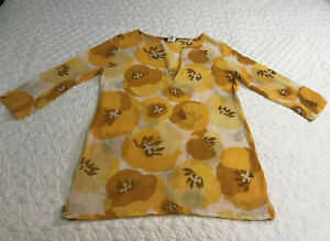 J. Crew Gauzy Tunic Or Swim Cover-up Size Xs Gold And Yellow Print