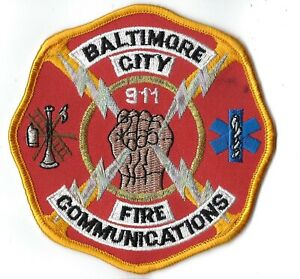 Baltimore City Md Maryland 9-1-1 Fire Communications Patch - New! *clothback*