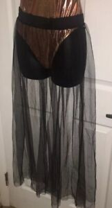 Womens Sheer Cover Up Skirt With Elastic Waist Size M/l