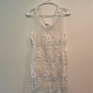 Fever Womens Swim Cover Up White Floral Crochet Fringes Sleeveless Scoop Neck M