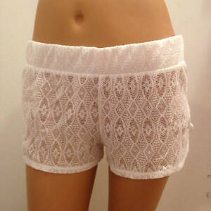 Miken Swim Ladies Small White Sheer Crochet Lace Swimsuit Cover-up Shorts