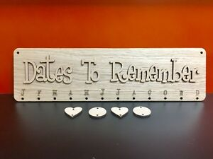 Mdf Or Oak Dates To Remember Birthday Boards With 25 Mdf Hearts Or Discs