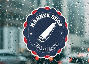 Barbershop Shave And Cut Business Hair Large Self Adhesive Window Shop Sign 3213
