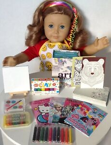Apron & Art Supplies For American Girl Doll 18