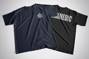 New Reflective Paramedic With Star Of Life Blue Or Black  T-shirt